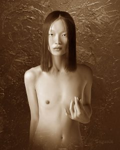 Asian girl nude - Digital art