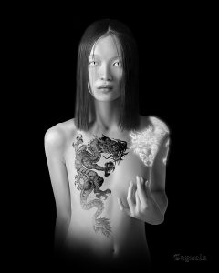 Sexy asian girl with dragon tattoo - Digital art