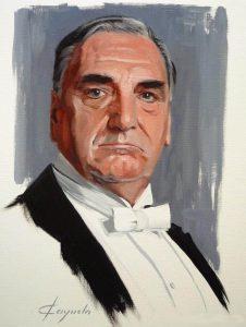 Downtown Abbey - Charles Carson ( Jim Carter ) - Oil Portrait - 33 x 41 cm