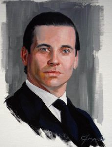 Downtown Abbey - Thomas Barrow ( Rob James-Collier ) - Oil Portrait - 33 x 41 cm