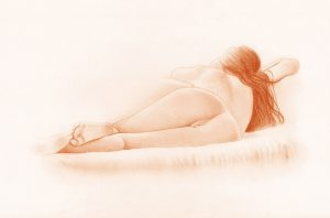 Erotic Nude Drawing in Red Chalk
