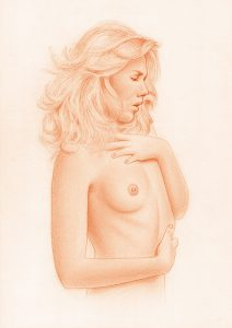 Female Nude Drawing - Sanguine On Canson Paper