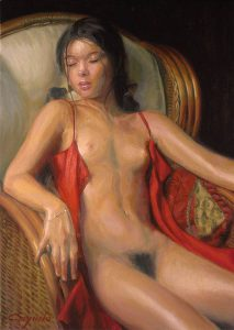 Girl Nude Seated - Oil Painting - 65 x 46 cm