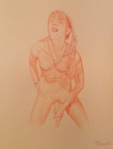 Porn drawing by Daniel Cayuela - Sanguine on Canson paper