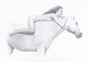 Girl Riding A Horse - Pencil Drawing