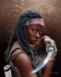 Michonne ( Danai Gurira ) - Illustration by Daniel Cayuela