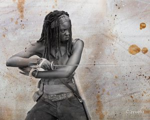 Michonne With Katana ( Danai Gurira ) - Digital Illustration