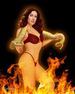 Satanico Pandemonium With Snake ( Salma Hayek ) - Digital Illustration
