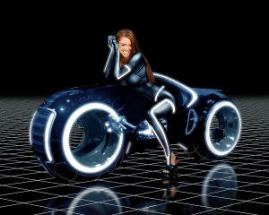 Digital art - Sexy cyber-girl on Light Bike