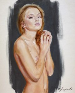 Sexy Young Girl Nude - Oil Portrait - 38 x 46 cm