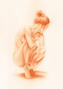Small Erotic Red Chalk Drawing - Female Nude