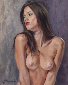 Young Girl Naked - Oil Portrait - 38 x 46 cm