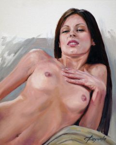 Young Girl Nude - Oil Portrait - 38 x 46 cm