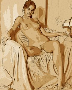 Nude Girl Seated - Digital Portrait - Project