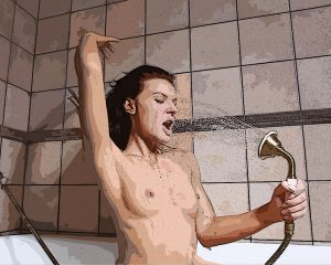 Shower - Topless Girl - Digital Illustration - Project