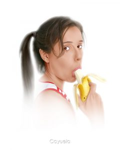 Sexy girl eating a banana - Digital art by Daniel Cayuela