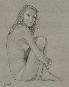 Sexy girl posing nude - Hard porn drawing