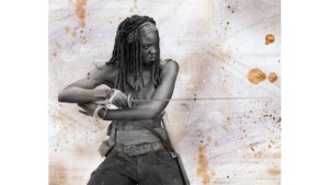 Michonne fighting with katana - digital painting