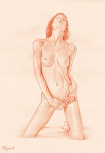 sexy girl exploring herself - Nude drawing