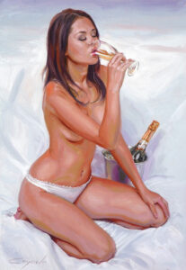 girl nude drinking champagne - erotic oil painting
