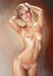 erotic oil painting - sexy girl nude