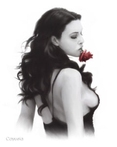 beautiful Monica Bellucci posing sexy with a rose - Digital painting