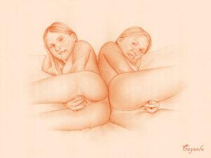 Sexy twins masturbating - Hard porn drawing