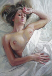lovely girl nude on bed - Hard porn painting