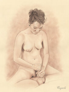 Jiz Lee giving a handjob - Hardcore porn drawing