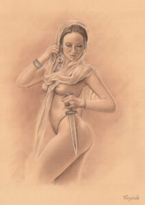 exotic girl poses naked - porn art